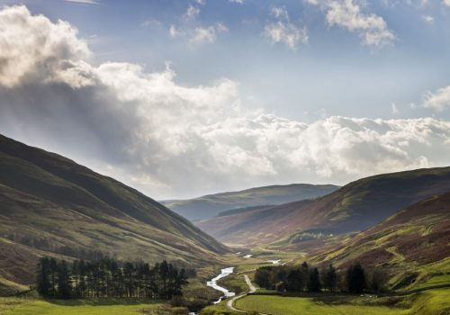 The view down the Coquet Valley towards Barrowburn from Barrow Law, Northumberland National Park, England